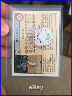 1992 Derek Jeter Front Row Auto Beautiful Autograph Nrmt/mt+ Rare