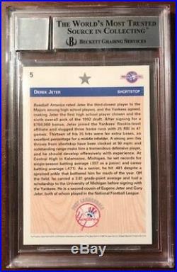 1992 Derek Jeter Pre Rookie Signed Auto Vintage Super Rare Bgs 10