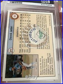 1992 Front Row Auto Derek Jeter #55 PSA 9 More Rare Gold On Card Autograph No 10