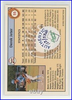 1992 Front Row Draft Pick Derek Jeter RC AUTO AUTOGRAPH ON CARD /5500 RARE