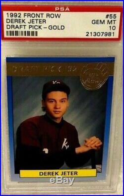 1992 Front Row Draft Picks Gold Foil Derek Jeter Rookie Card #55 Psa 10 Gem Rare