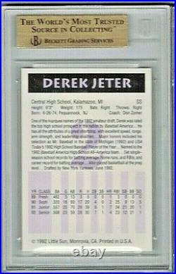 1992 Little Sun #2 Derek Jeter BGS 9.5 Gem Mint Rare High School