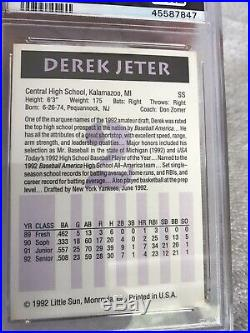 1992 Little Sun #2 High School Prospects Derek Jeter PSA 10 Gem Mint Rare New