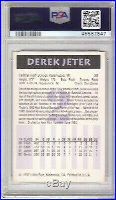 1992 Little Sun #2 High School Prospects Derek Jeter PSA 10 Gem Mint Rare New