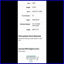 1993 Topps Colorado Rockies Inaugural Derek Jeter PSA 10. RARE