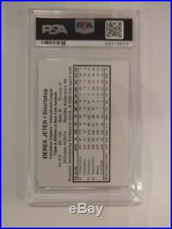 1995 Columbus Clippers Derek Jeter #NN Team Issue Mint PSA Rare RC