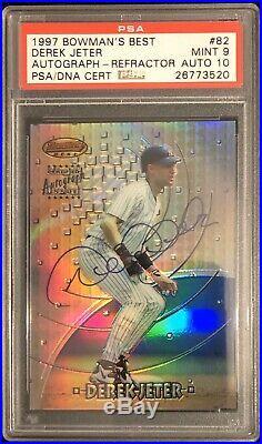 1997 Bowmans Best Derek Jeter Refractor Psa 9 Auto 10 Yankees Hof Rare