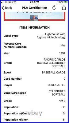 1997 Pacific Carlos Baerga Celebraties Softball Derek Jeter PSA 7 SSP Ultra Rare