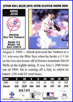 2000 Pacific Private Stock Derek Jeter GOLD Portraits /99 Last One Made! Rare