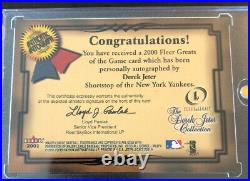 2001 Fleer Legacy Greats Of The Game Derek Jeter On Card Autograph Auto Rare