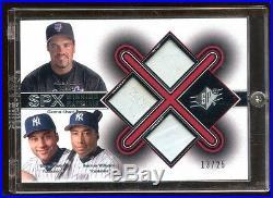 2001 Spx Triple Game Used Base /25 Derek Jeter-mike Piazza-bernie Williams Rare