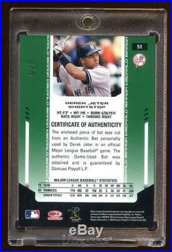 2004 Certified Derek Jeter Emerald Green #d 2/5 Game Used Bat 1/1 Jersey# Rare