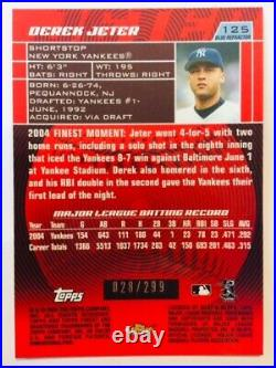 2005 Topps Finest #125 Derek Jeter Blue Refractor /299 Mint Condition Rare