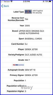 2005 UD Origins Old Judge Auto Derek Jeter PSA 7 Auto 10 Pop 1 Rare SP Autograph