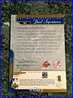 2005 Upper Deck Dual Signatures Cal Ripken Derek Jeter Auto Ser #ed /25 Rare