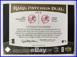 2007 UD DUAL RARE PATCHES DEREK JETER DON MATTINGLY #15/25 3 color PATCH