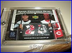 2007 UD Premier RARE PATCHES DUAL LOGO PATCH SP #32/50 Derek Jeter/K. Griffey Jr