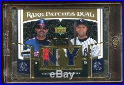 2007 Ud Derek Jeter / Reggie Jackson Gold /25 Dual Game Worn Patch Logo Hof Rare