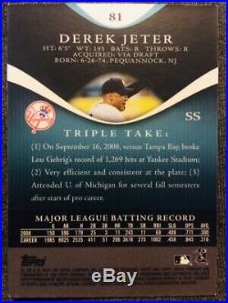 2009 Topps Triple Threads #81 Derek Jeter Sapphire Parallel Card /25 Rare