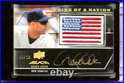 2009 UD Black Derek Jeter Pride Of Nation Gold Autograph Flag Patch SP /10 Rare