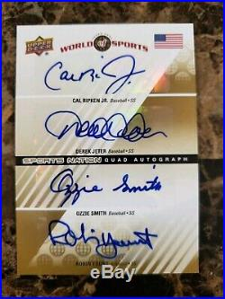 2010 UD Quad Auto DEREK JETER Cal Ripken Jr. OZZIE SMITH Robin Yount #/25 RARE