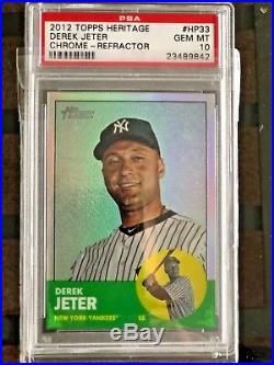 2012 Derek Jeter Topps Heritage Chrome Refractor Psa 10 Gem Mint! Rare! /563