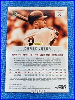 2012 Panini Prizm Red Derek Jeter SSP 1st Year Prizm Target Exclusive RARE Read