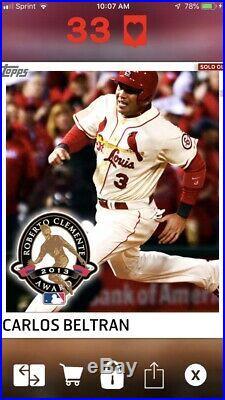 2013 Topps BUNT Digital Carlos Beltran RCA Clemente Award Cardinals Rare 25cc