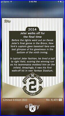 2014 Topps Bunt DIGITAL Derek Jeter Farewell Sig Limited Super Rare Reduced