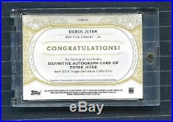 2018 Topps Definitive Derek Jeter Inscription Auto Captain /5 Super Rare