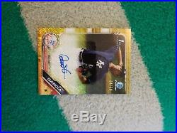 2019 Bowman Chrome Deivi Garcia Gold Refractor Auto 4/50 1/1 Jersey Number Rare