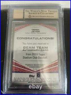 2019 Derek Jeter Stadium Club 1/1 Beam Gold Rainbow Foil BGS 9.5 /10 Auto! RARE