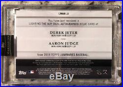 2019 TOPPS LUMINARIES DEREK JETER/AARON JUDGE AUTO 5/5 JERSEY RELIC Yankees Rare
