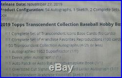 2019 Topps Transcendent Collection Factory Sealed Hobby Case Jeter 1/1 Auto Rare