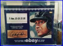 8x10 ENCASED BGS 9.5/10 Derek Jeter Game Used Tag Auto Yankees RARE 1/1 14k BAR