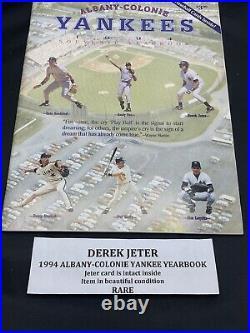 DEREK JETER 1994 ALBANY COLONIE YANKEES PROGRAM with CARD YEARBOOK RARE