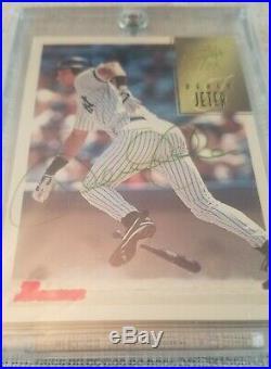 DEREK JETER AUTOGRAPH CARD IN 1997 Bowman GREEN Ink Auto CA41 NICE CARD RARE