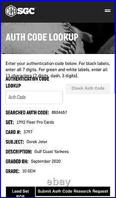DEREK JETER ROOKIE 1992 FLEER PROCARDS Gulf Coast Yankees #3797 10 MINT SGC RARE
