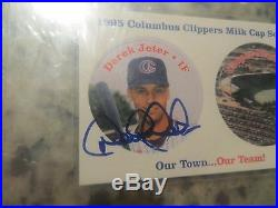DEREK Jeter signed autographed auto card 1995 Clipper milk cap RARE JSA Giveaway