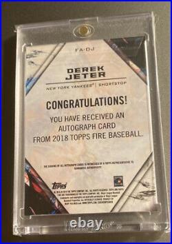 Derek JETER AUTO 2018 Topps FIRE BASEBALL CARD RARE DEREK JETER SIGNED CARD