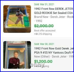 Derek Jeter 1992 Front Row Rookie Rare GOLD With Complete Set and COA numbered
