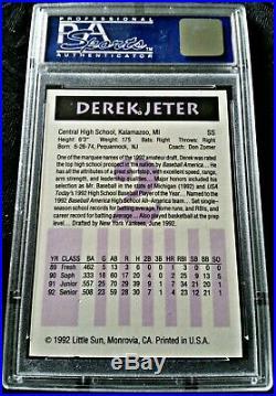 Derek Jeter 1992 Little Sun #2 RARE TYPE HIGH SCHOOL ROOKIE PSA 9 MINT! YANKEES