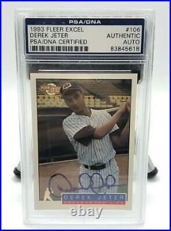 Derek Jeter 1993 Fleer #106 Excel AUTO PSA/DNA Certified Yankees (Rare)