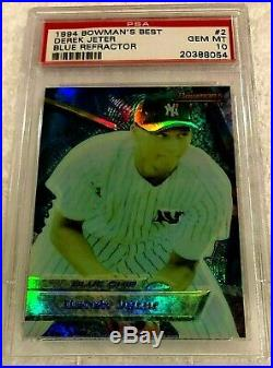 Derek Jeter 1994 Bowmans Best Blue Refractor Rookie #2 Psa 10 Very Rare Yankees