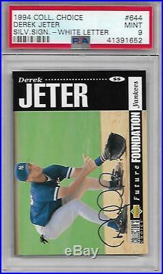 Derek Jeter 1994 Collectors Choice #644 RARE WHITE LETTER with SILVER SCRIPT PSA 9