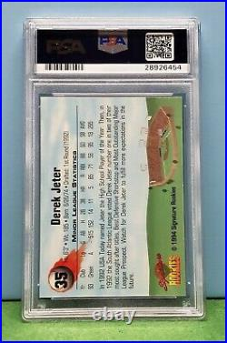 Derek Jeter 1994 Signature Rookies #35 PSA 10 Gem Mint Nice Bold Auto. Rare