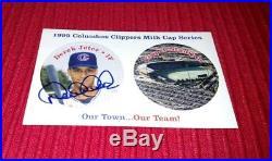 Derek Jeter 1995 Columbus Clippers Milk Cap Series AUTOGRAPH-RARE
