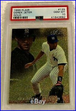Derek Jeter 1996 Flair Gold Foil Rookie #129 Psa 10 Pop 38 Very Rare Yankees