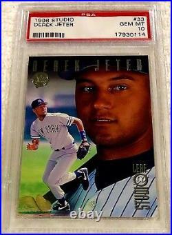 Derek Jeter 1996 Leaf Studio Silver Foil Rookie #33 Psa 10 Pop 24 Rare Yankees