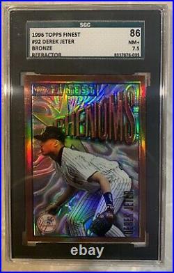 Derek Jeter 1996 Topps Finest Refractor Baseball Card #92 Yankees SGC 86 RARE
